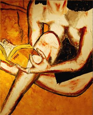 Mujer leyendo, por Lionel Bedos